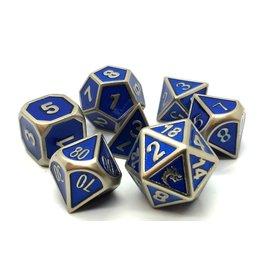 Old School Dice 7 Piece DnD RPG Metal Dice Set: Elven Forged - Metallic Blue