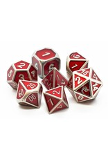 Old School Dice 7 Piece DnD RPG Metal Dice Set: Elven Forged - Metallic Red