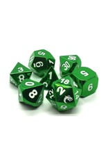 Old School Dice 7 Piece DnD RPG Metal Dice Set: Halfling Forged - Electric Green