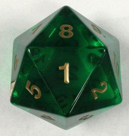 Chessex 55mm Jumbo d20 Translucent Green w/ gold