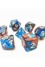 HD Dice, LLC. Blend Copper-Blue Poly Dice (7)