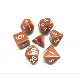 HD Dice, LLC. Opaque Brown/White Poly dice (7)