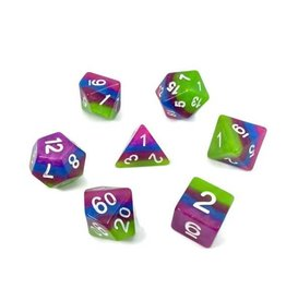 HD Dice, LLC. Layer Green, Purple, Blue Poly Dice (7)