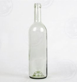 750 ml Wine Bottles (Flint Clear Claret with Punt, Cork Finish) - Single Bottle