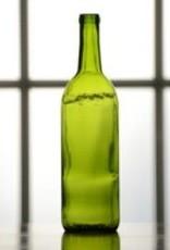 750 ml Wine Bottles (Green Claret Flat Bottom, Cork Finish) - Case/12
