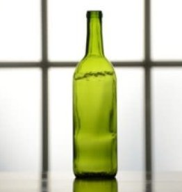 750 ml Wine Bottles (Green Claret Flat Bottom, Cork Finish) - Case/12