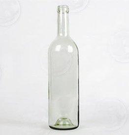 750 ml Wine Bottles (Flint Clear Claret with Punt, Cork Finish) - Case/12