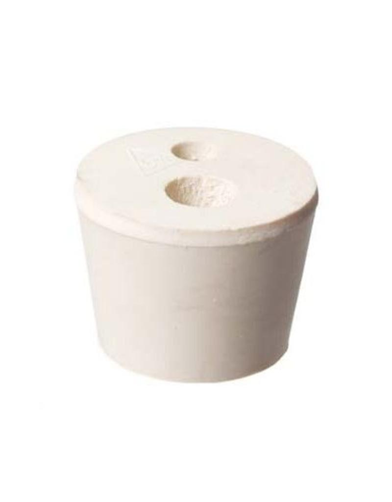 "#6-1/2 Drilled 2 Hole Rubber Stopper / Bung - 3/8"" hole and 1/4"" hole"