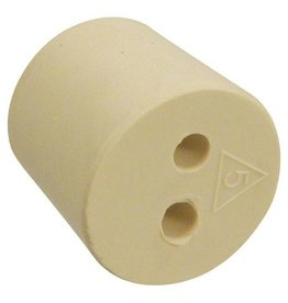 #5 Drilled 2 Hole Rubber Stopper / Bung