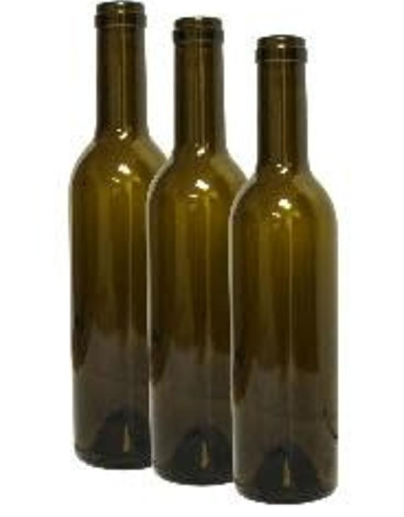 375 ml Wine Bottles (Antique Green Claret with Punt, Cork Finish) - Case/12