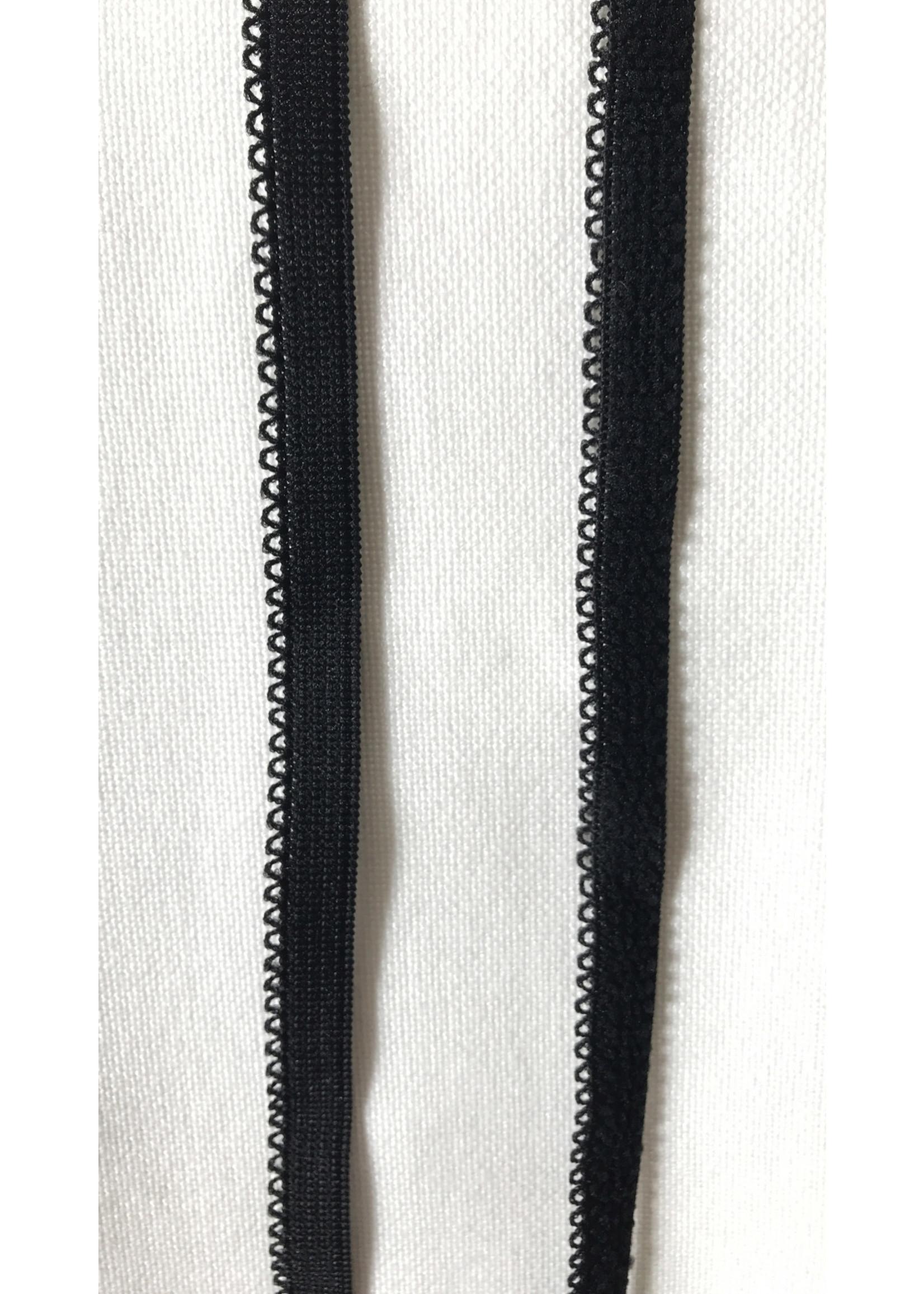 Élastique noir - 10 mm - Dentelé - 1 mètre