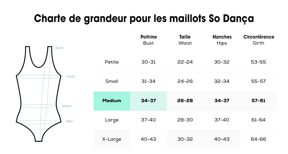 Charte de grandeur - Maillots So Dança