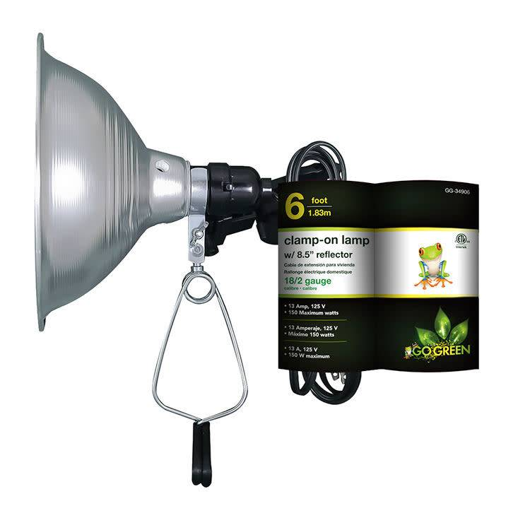 "GO GREEN Clamp-On Lamp w/ 8.5"" Reflector 6'"