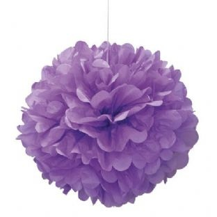 "Unique 16"" Puff Decorative Ball Pretty Purple"