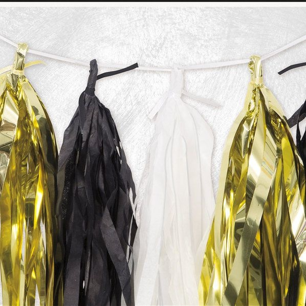 Unique Gold, Black and White Foil and Tissue Tassel Garland 9'