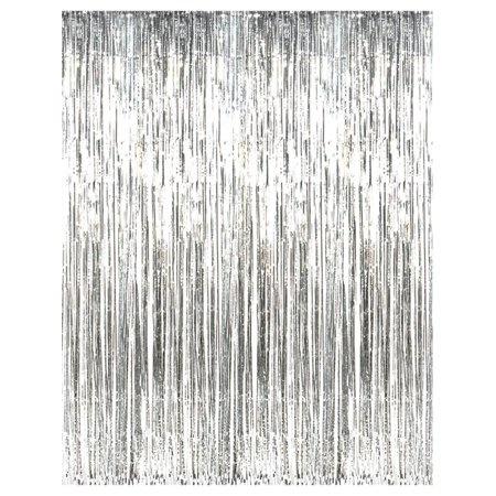 Unique Silver Fringe Door Curtain 3' x 8'