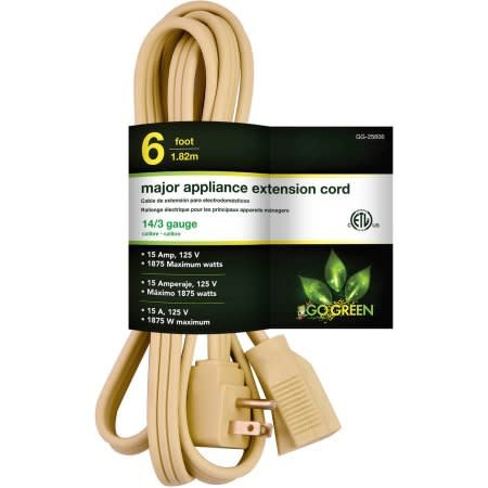 GO GREEN GoGreen Power 14/3 6' Appliance Cord, Beige