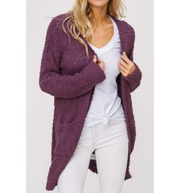Let's Cuddle Popcorn Knit Cardigan- Egg Plant