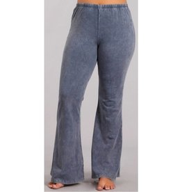 Nine To Five Bell Bottom Pants- Blue Grey