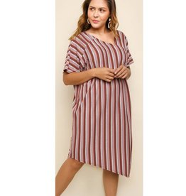 Run The Stripes Dress- Marsala Mix