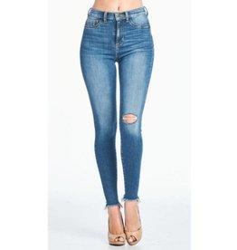 No Limits Distressed High Rise Skinny Jeans - Medium Dark