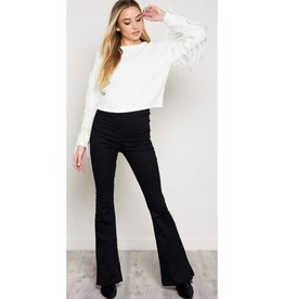 I've Got One Wish High Waisted Boot Cut Pants- Black