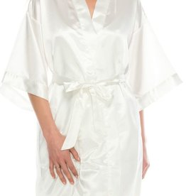 Next To Me Satin Robe Set- White