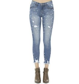 Adored The Most Pearl Accent Skinny Jeans- Denim