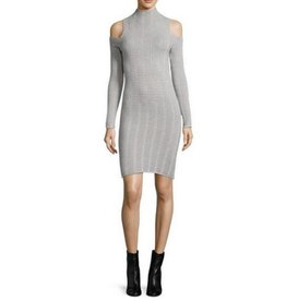 FRENCH CONNECTION Mozart Ladder Knit Dress- Grey