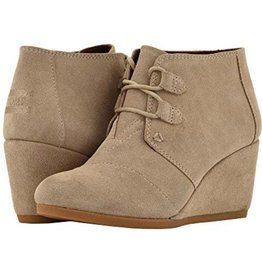 TOMS Kala Suede Wedge Booties - Desert Taupe