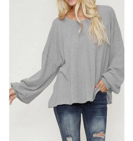 Endless Optimism Waffle Knit Top-Heather Grey