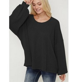 Endless Optimism Waffle Knit Top- Black