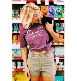 Cat Mom Graphic Tee- Purple