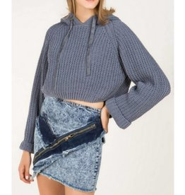 It's All For You Cropped Sweater- Grey