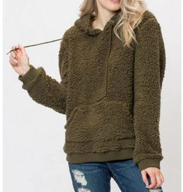 Follow The Leader Hoodie Pullover- Olive