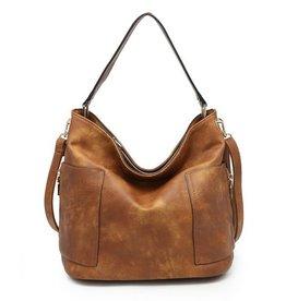 The Lilly Side Pocket Hobo Bag- Brown