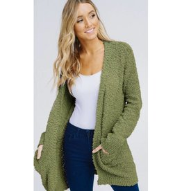 Let's Cuddle Popcorn Knit Cardigan- Olive