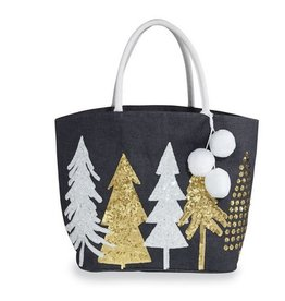 MUD PIE Sequin Tree Tote- Gold and Silver
