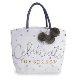 MUD PIE Celebrate The Season Tote- Gold and Silver
