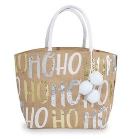 MUD PIE HoHoHo Tote- Gold and Silver