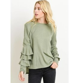 Remember Everything Ruffle Sleeve Sweater Top- Dusty Sage
