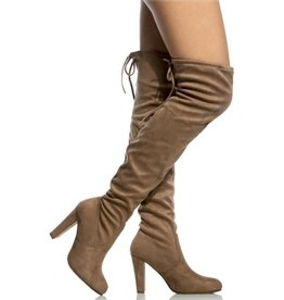 Night Visions Thigh High Boots- Taupe