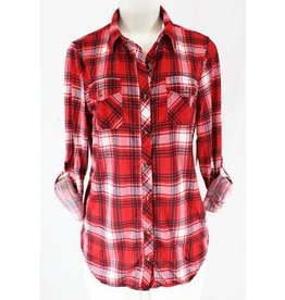 A Darling Story Plaid Top- Ruby Red/Black