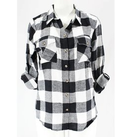 All Day Comfort Flannel Plaid Top- White/Black