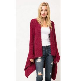 Caught Up In Comfort Popcorn Cardigan - Burgundy