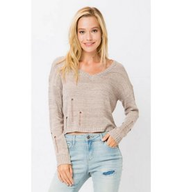 Same City Lights Distressed Crop Sweater - Oatmeal
