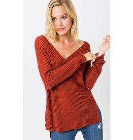 Stay Snug Hi Lo Sweater - Rust
