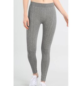 Not A Moment Too Soon Braid Knit Leggings - Heather Black