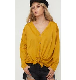 Anytime Anywhere Button Down Knot Top - Mustard