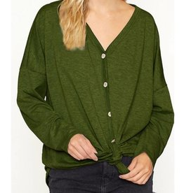 Anytime Anywhere Button Down Knot Top - Olive